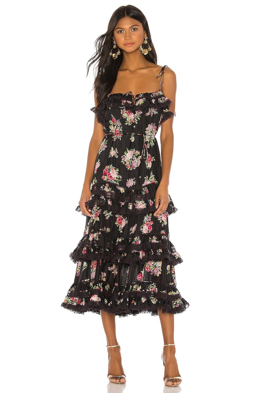 Zimmermann Honour Tiered Tie Dress in Black Floral