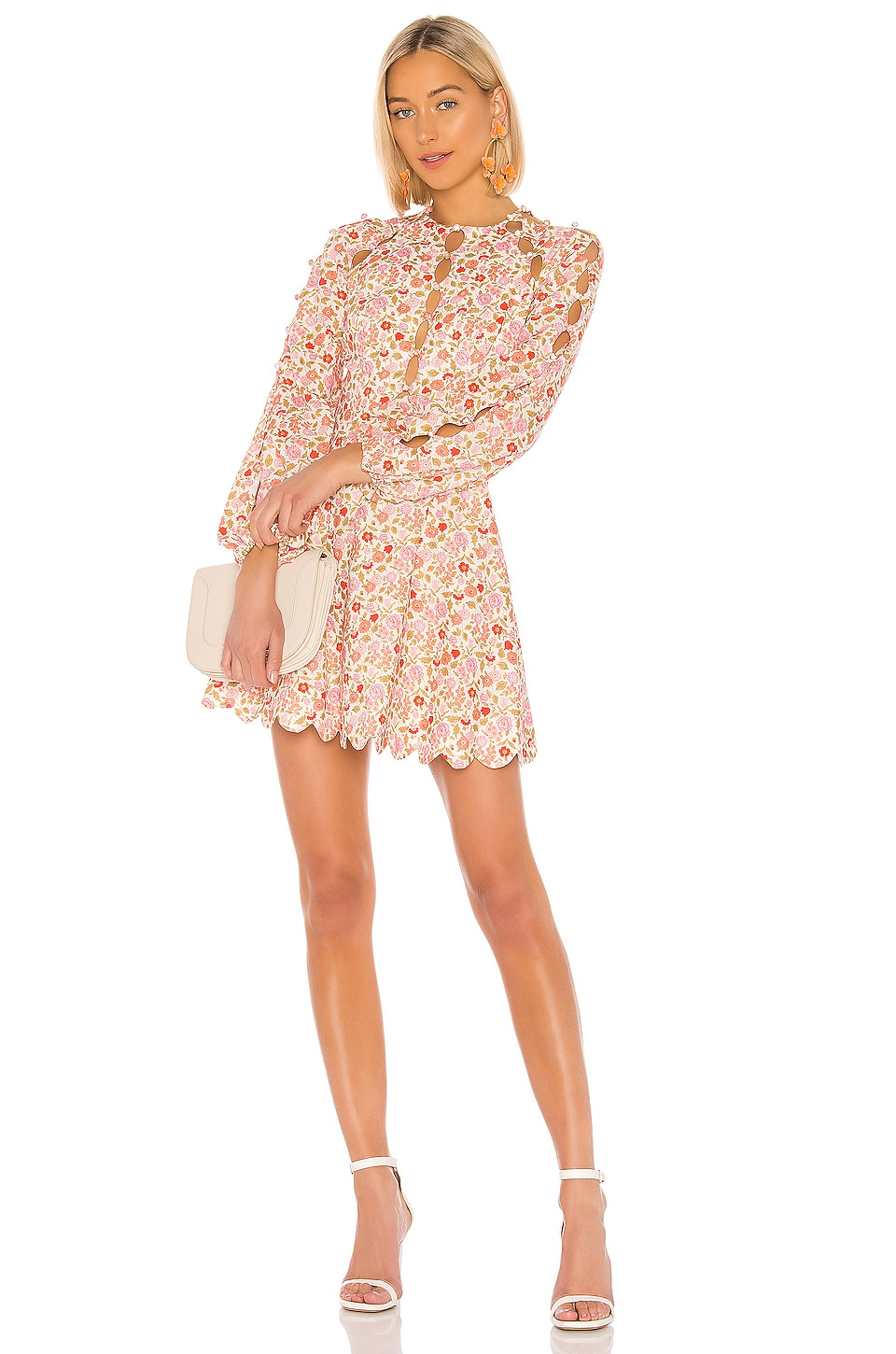 Zimmermann Goldie Scallop Dress in Coral Blossom