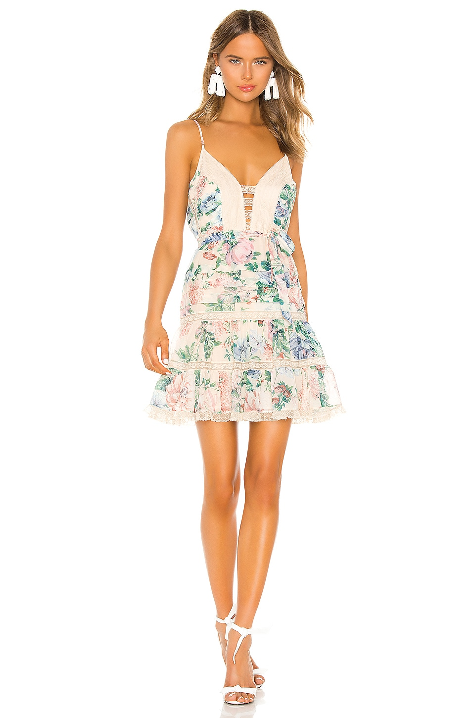 Zimmermann Verity Scallop Dress in Cream Floral