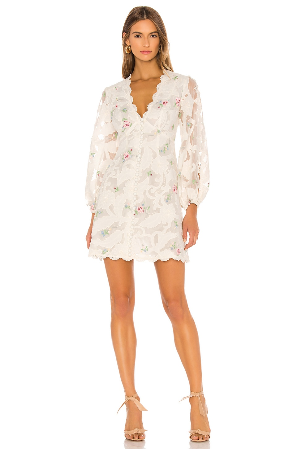 Zimmermann Zinnia Applique Mini Dress in Ivory Multi