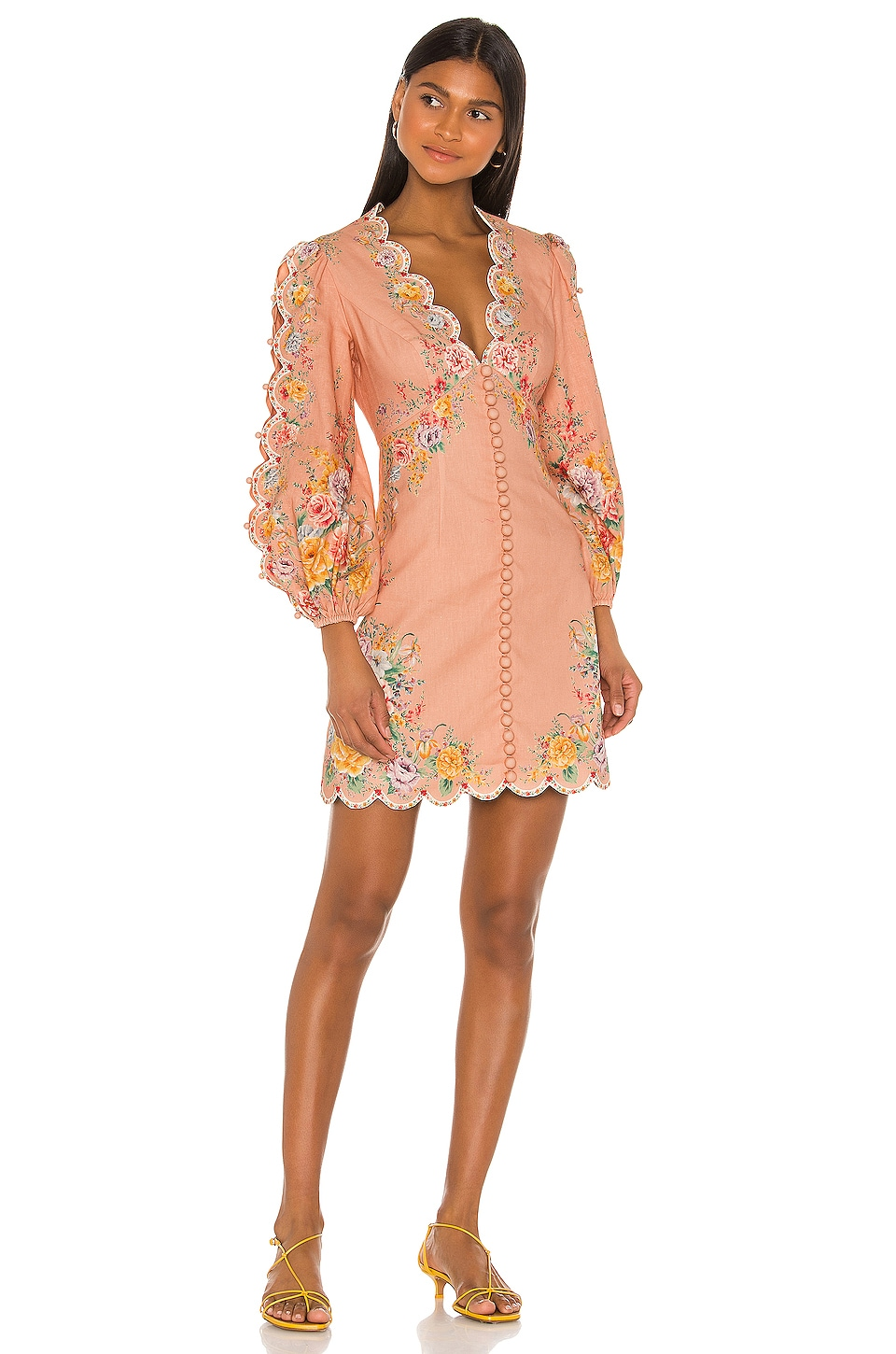 Zimmermann Zinnia Scallop Mini Dress in Coral Floral