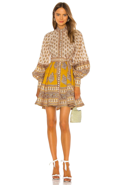 Zimmermann Bonita Buttoned Dress in Mustard Paisley