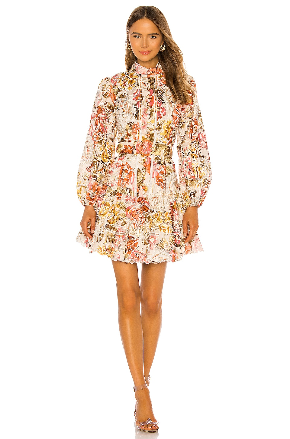 Zimmermann Bonita Embroidery Short Dress in Cream Floral