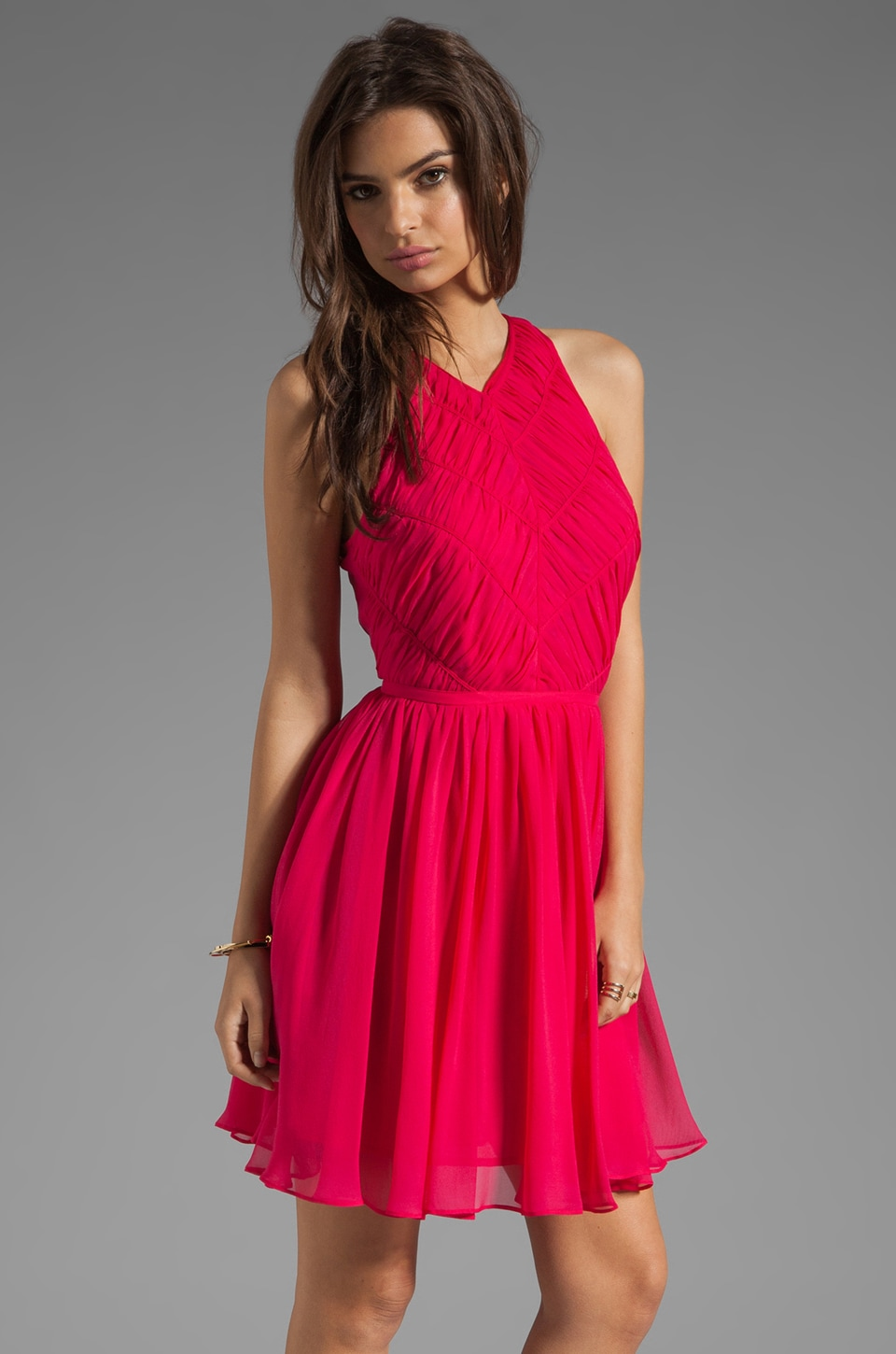 Zimmermann Independent Rouched Dress in Ruby