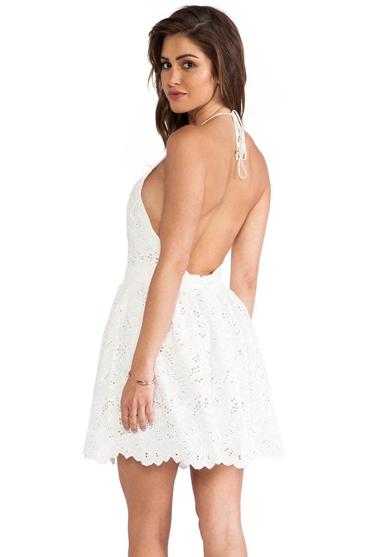 Zimmermann Roamer Halter Dress in White Broderie