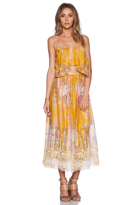 Zimmermann Confetti Scallop Tie Dress in Mustard Floral