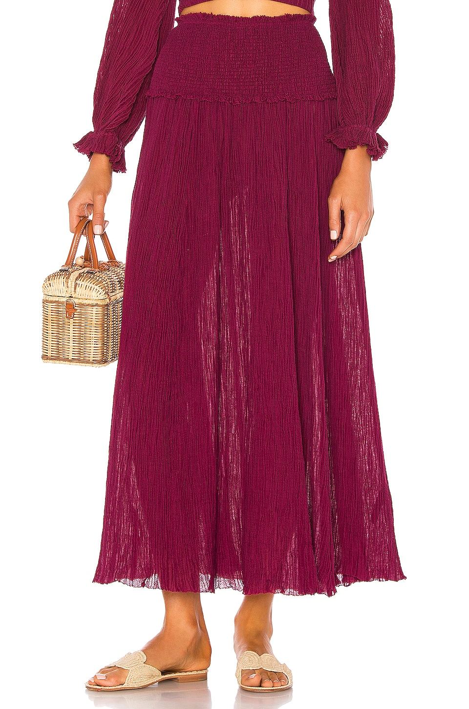Zimmermann Suraya Shirred Waist Skirt in Burgundy