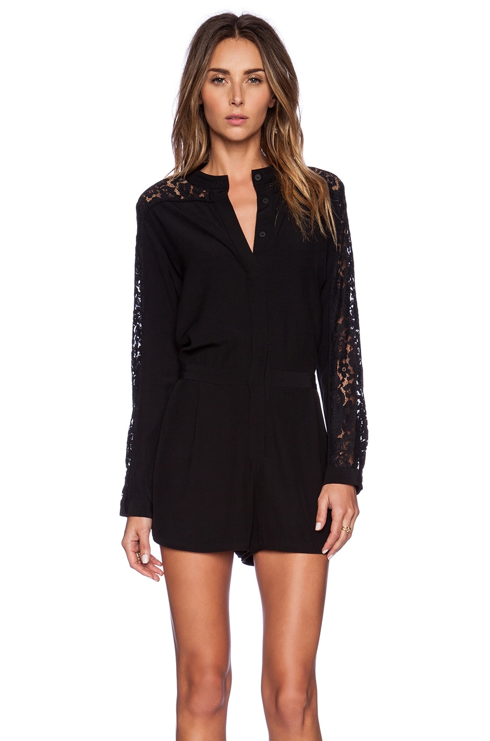 Zimmermann Crepe Lace Panel Playsuit in Black