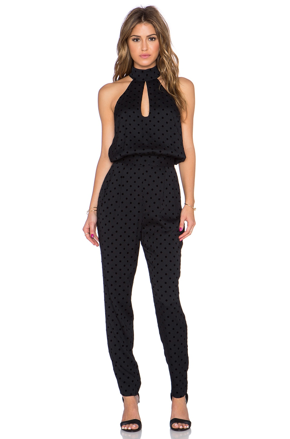 Zimmermann Rhythm Flocked Dot Jumpsuit in Black
