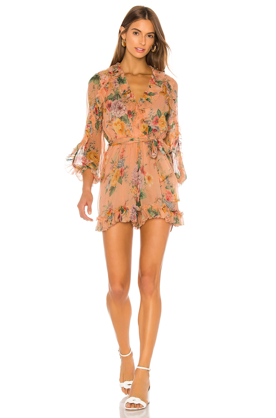 Zimmermann Zinnia Plunge Ruffle Playsuit in Coral Floral