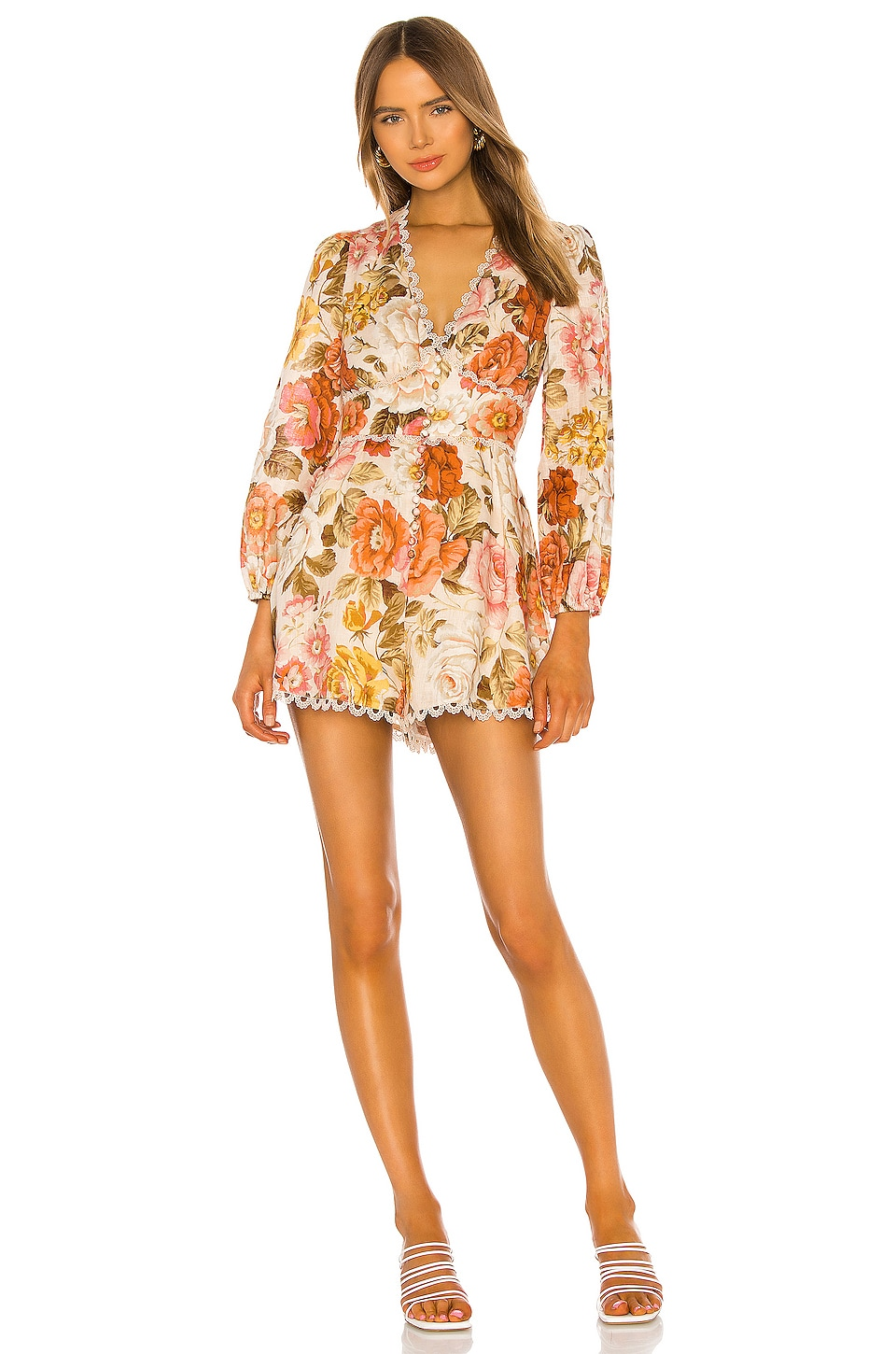 Zimmermann Bonita Button Through Playsuit in Cream Floral