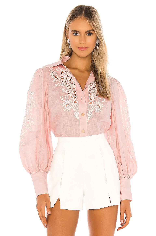 Zimmermann Freja Embroidered Shirt in Blossom
