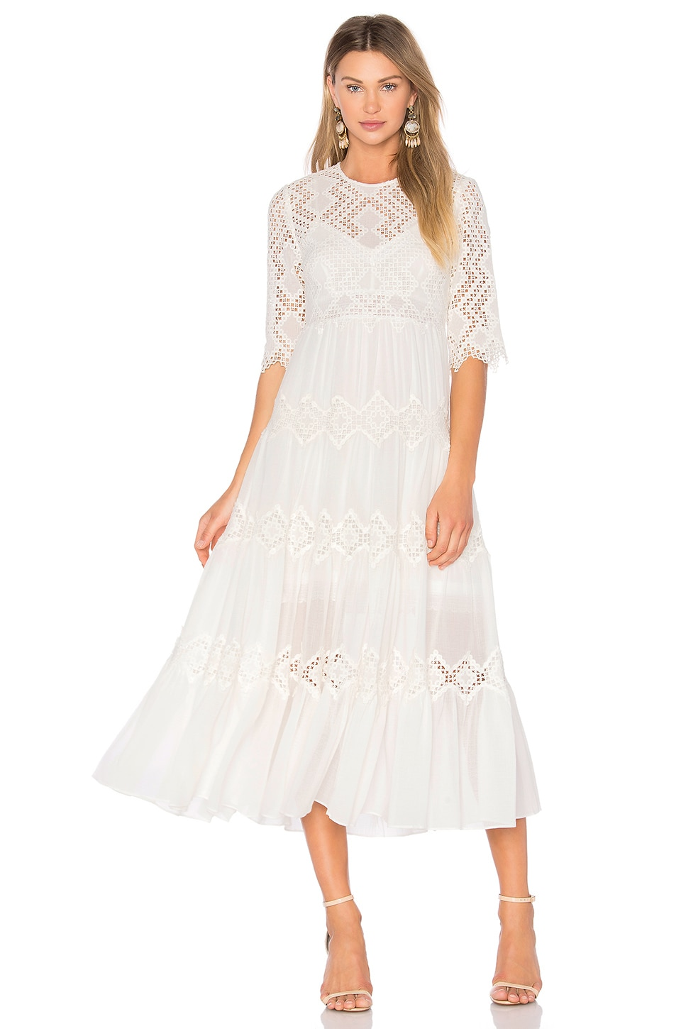Zimmermann Oleander Diamond Lace Tier Dress in Ivory