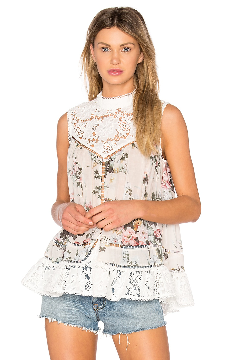Zimmermann Aerial Mini Smock Tank in Floral