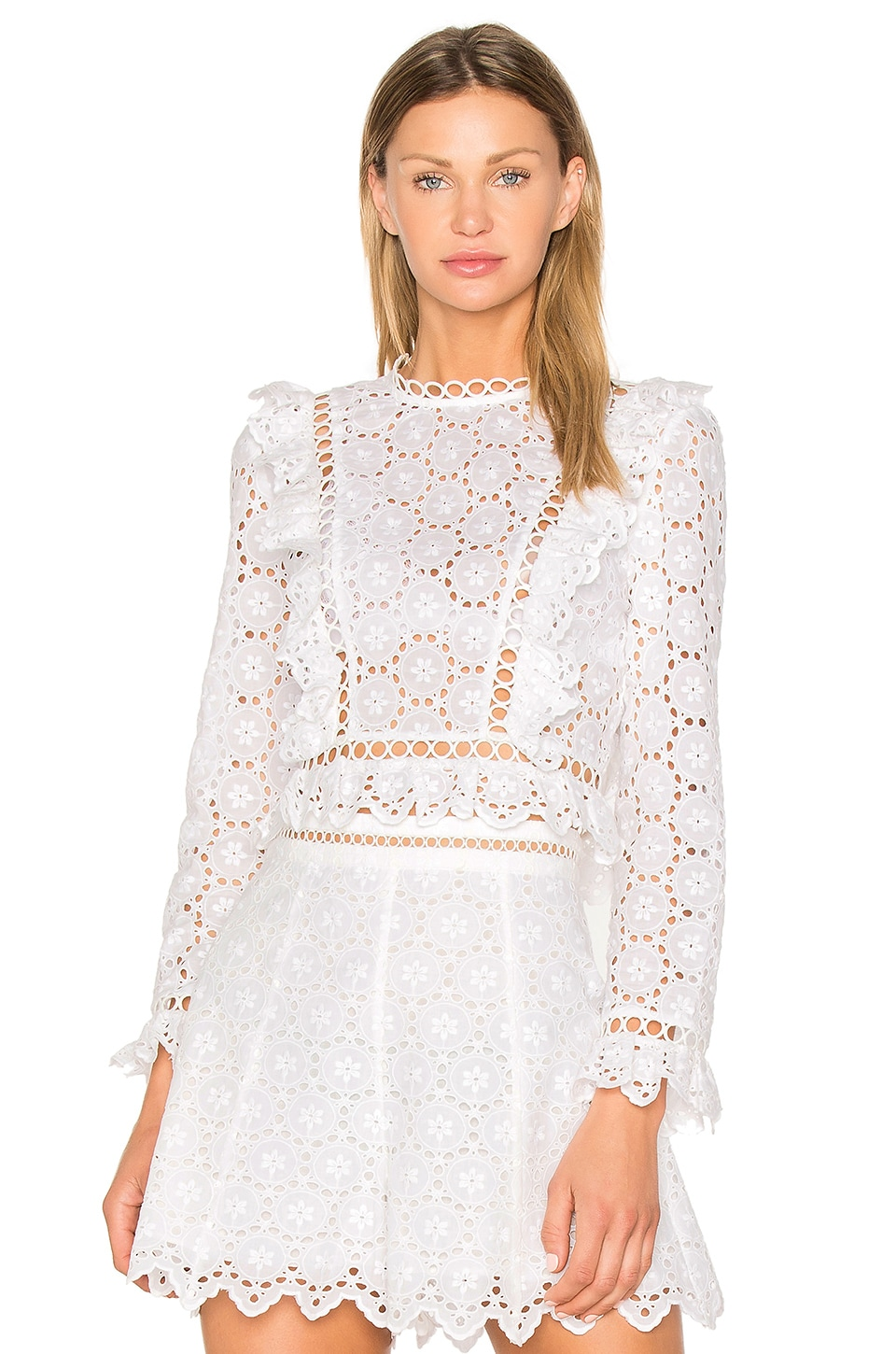 Zimmermann Divinity Wheel Frill Top in Ivory