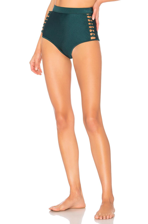 Zimmermann Melody High Waisted Bikini Bottom in Bottle Green