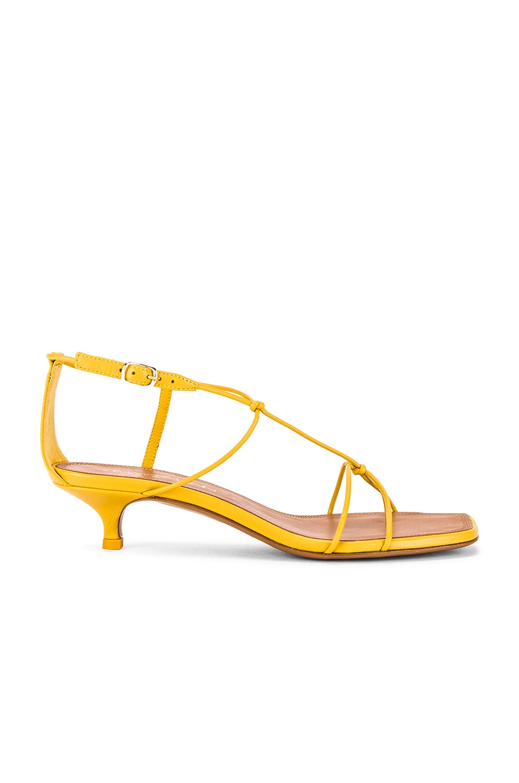 Zimmermann Strappy Kitten Heel Sandal in Daffodil Yellow