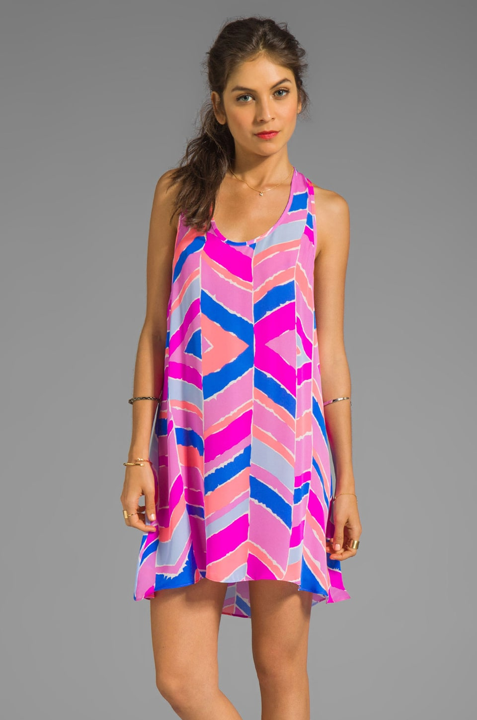zinke Lulu Dress in Orchid Chevron Print