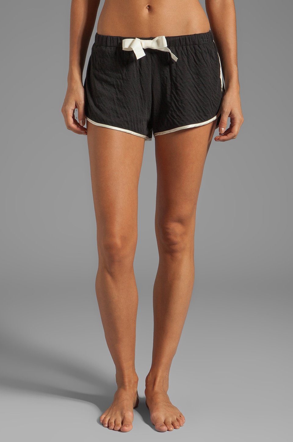 zinke Oli Tie Front Shorts in Ivory/Black