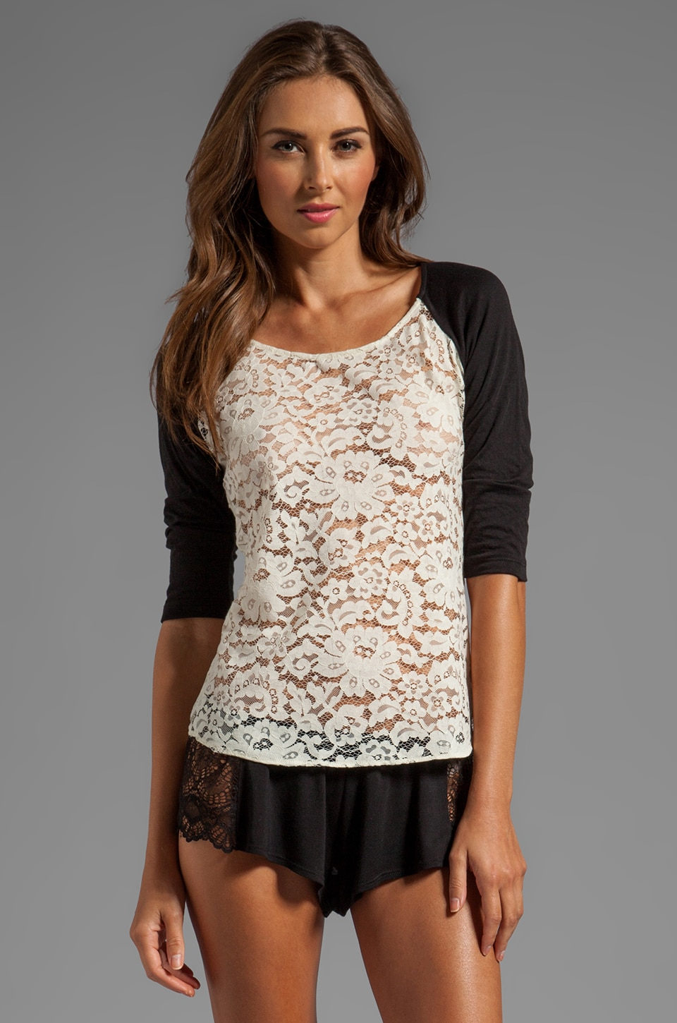 zinke Megan Lace Raglan Baseball Tee in Ivory/Black