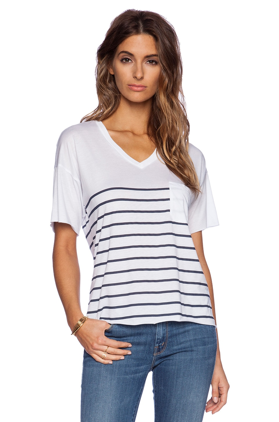 Zoe Karssen Stripes Tee in Optical White