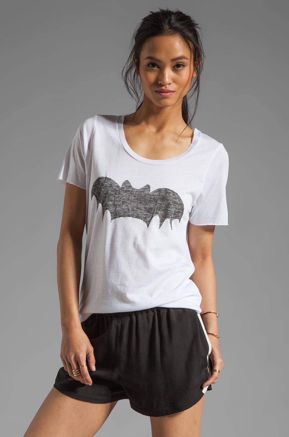 Zoe Karssen Loose Fit Short Sleeve Bat Tee in White