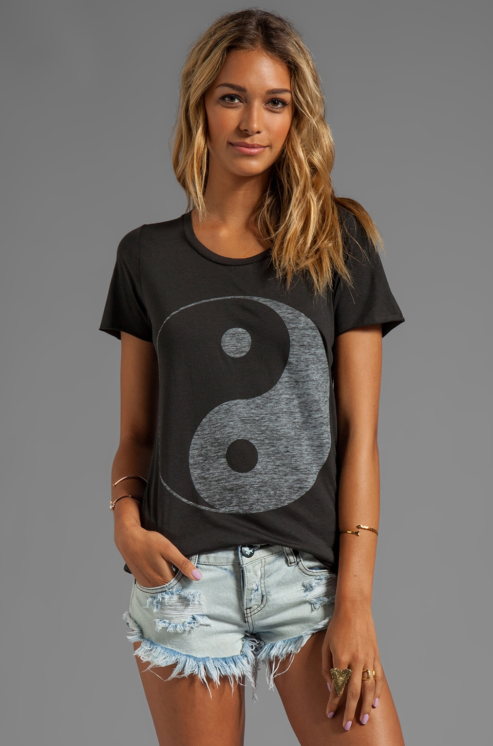 Zoe Karssen Yin Yang Loose Fit Short Sleeve Tee in Pirate Black