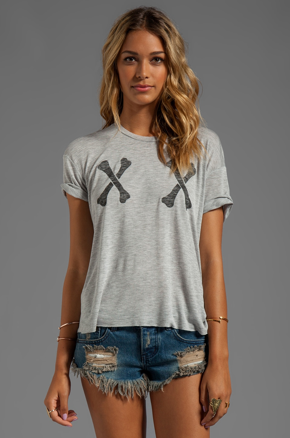 Zoe Karssen X-Bones Box Fit Tee in Grey Heather