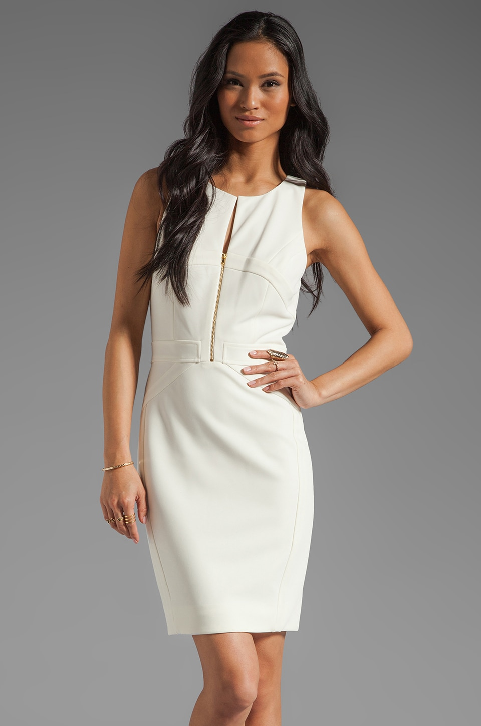 Z Spoke by Zac Posen Sleeveless Body Con Dress in Winter White