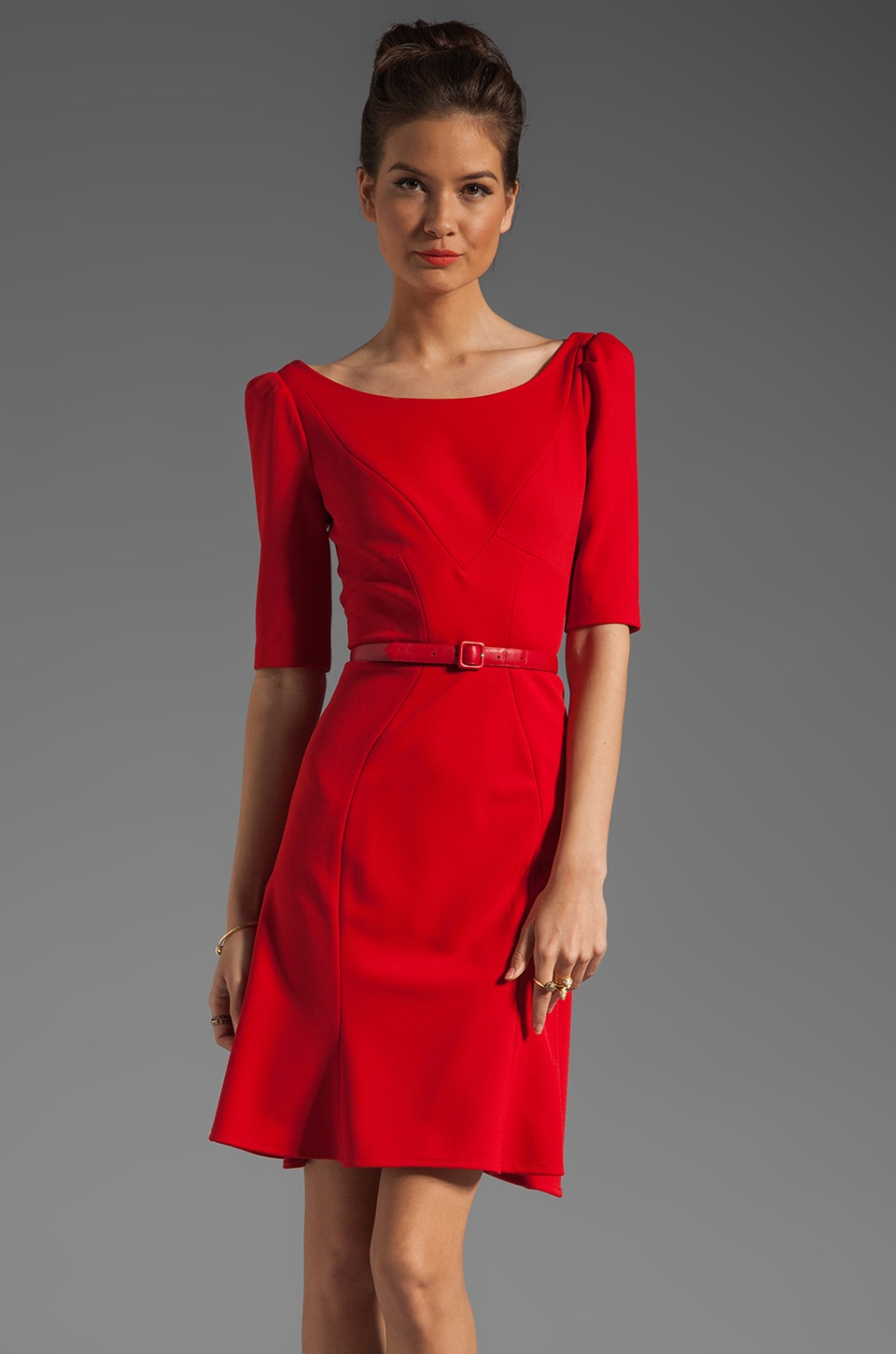 Z Spoke by Zac Posen 3/4 Sleeve V Neck Dress in Red Carpet