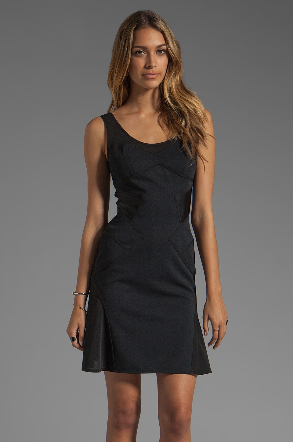 Z Spoke by Zac Posen Sheer Panels Dress in Black