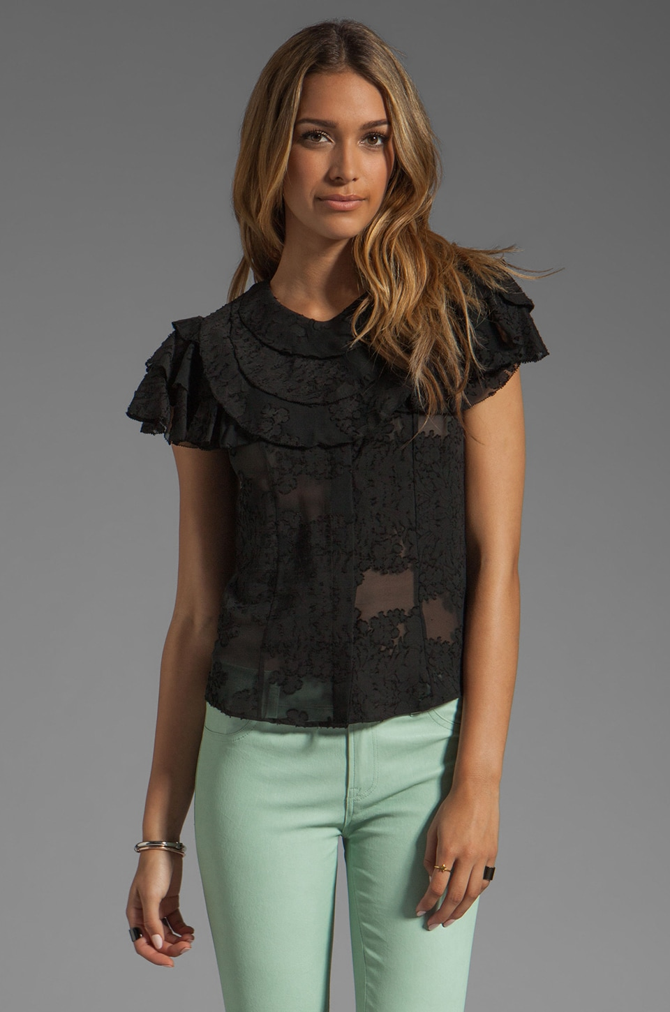 Z Spoke by Zac Posen Ruffle Blouse in Black