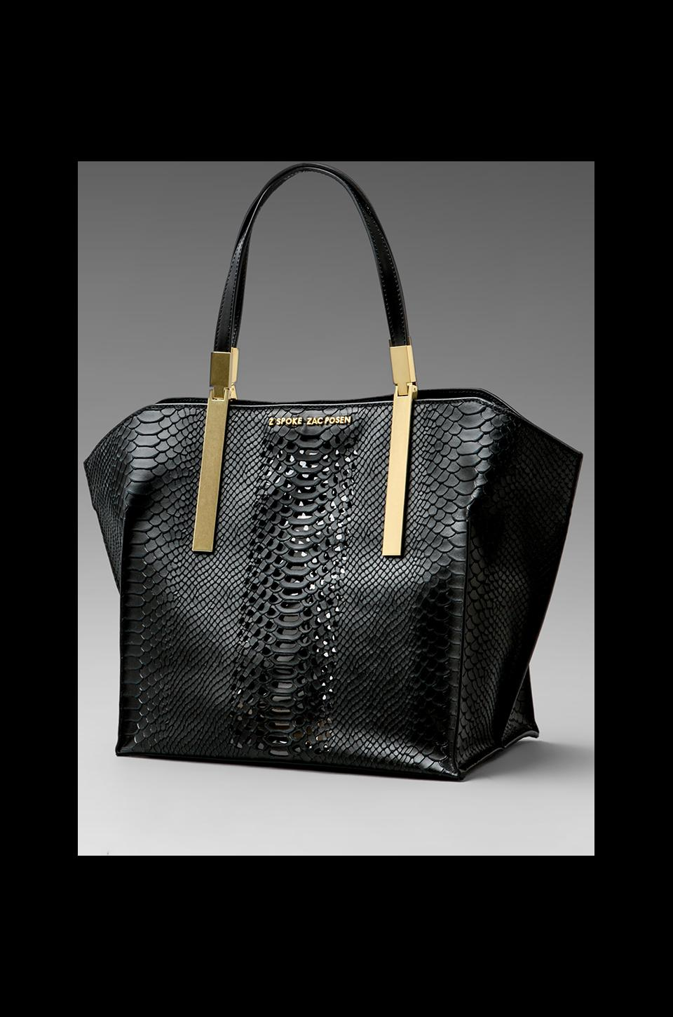 Z Spoke by Zac Posen Danes Dry Python Perforated Small Shopper in Black