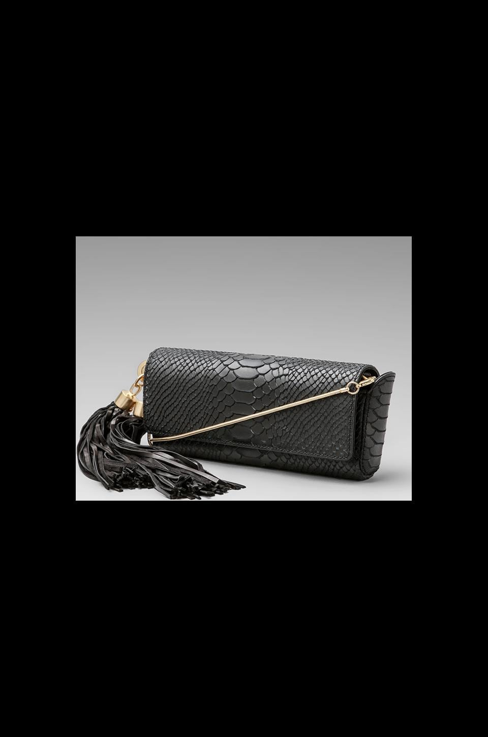 Z Spoke by Zac Posen Claudette Dry Python Long Tassel Clutch in Black
