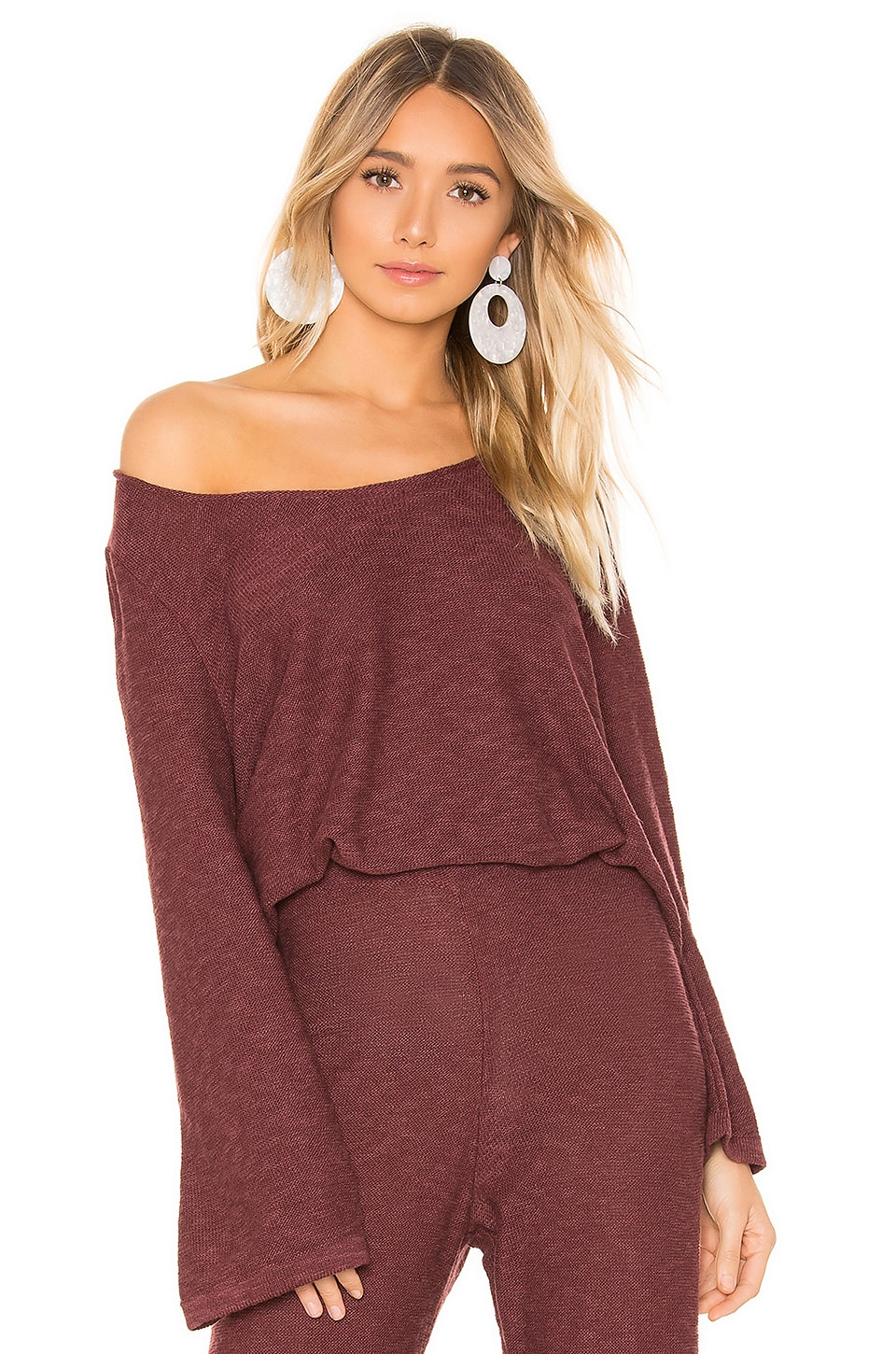 ZULU & ZEPHYR X Revolve Lounge Top in Burgundy