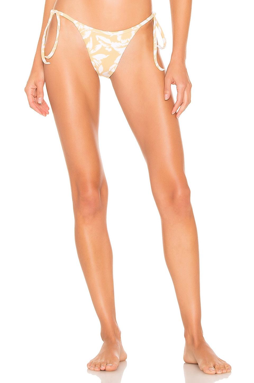 ZULU & ZEPHYR Hibiscus Bralette Bikini Bottom in Yellow & White