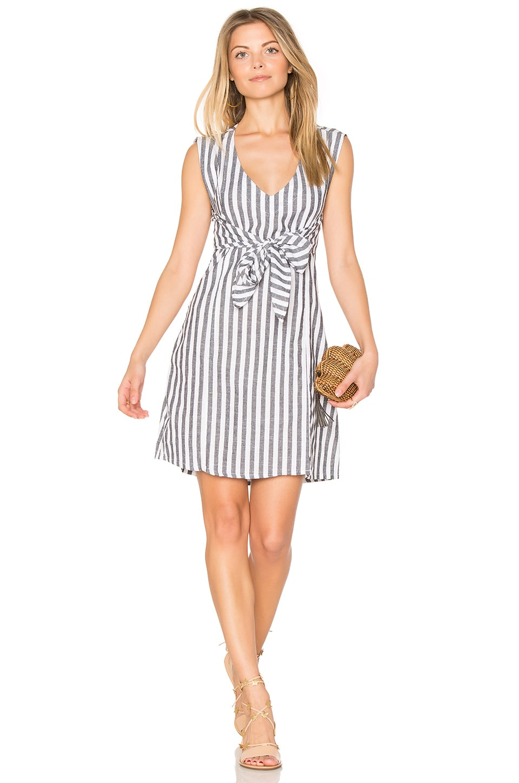 ZULU & ZEPHYR Trail Wrap Dress in Gray & White Stripes