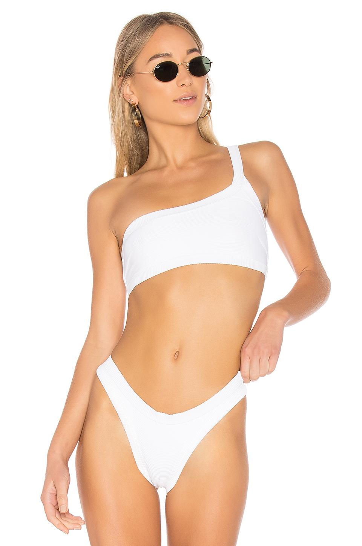 ZULU & ZEPHYR Suntan One Shoulder Top in White