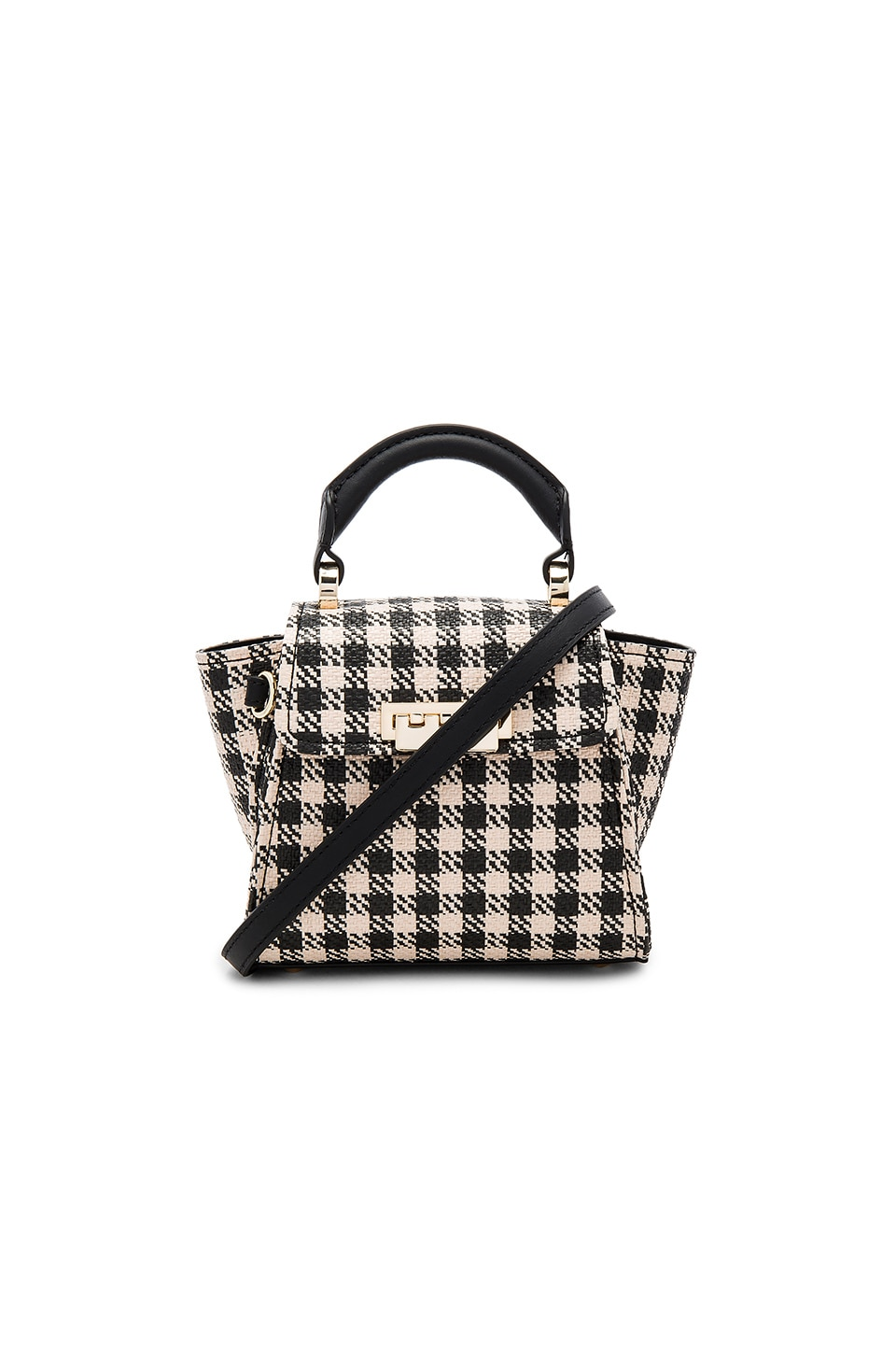 Zac Zac Posen Eartha Iconic Mini Gingham Straw Top Handle in Black