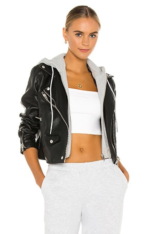 X REVOLVE Twofer Vegan Leather Moto Jacket