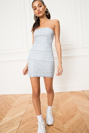 Charlize Lace Strapless Dress