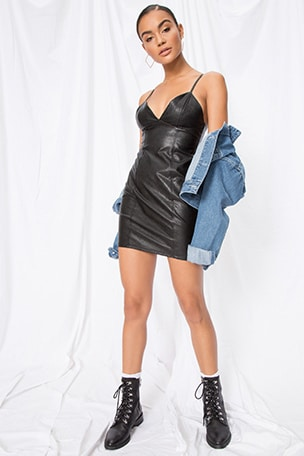 03831bd4095 Becca Faux Leather Dress. superdown