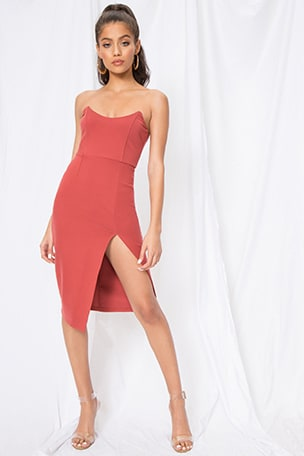 Zarah Strapless High Slit Midi Dress