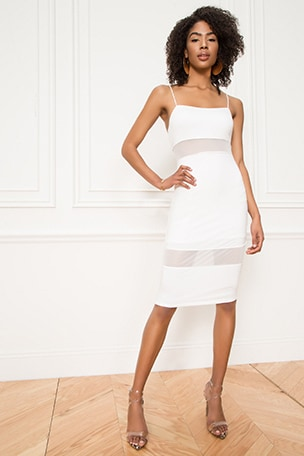 Naomi Mesh Cut Out Midi Dress