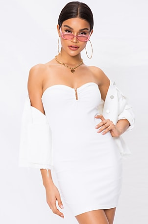Evelyn U Ring Strapless Bodycon Dress