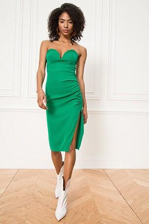Christian Strapless Midi Dress