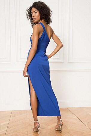Norah Ruched Asymmetric Maxi Dress