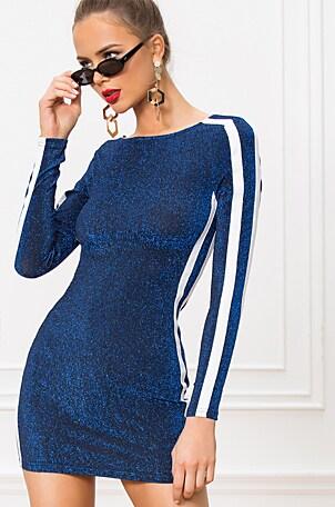 Reina Side Stripe Metallic Bodycon Dress