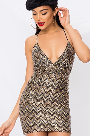 Erin Sequin Surplice Dress
