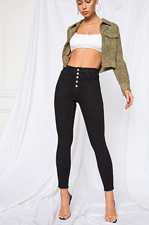 Pierce Button Front Jeans